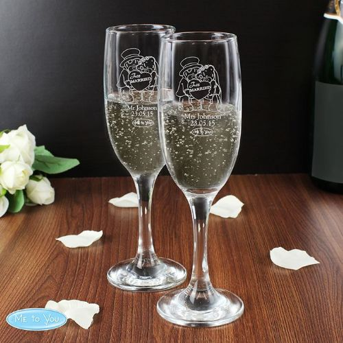 Me To You Wedding Pair of Flutes